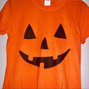 Women's Orange Pumpkin face Halloween shirt